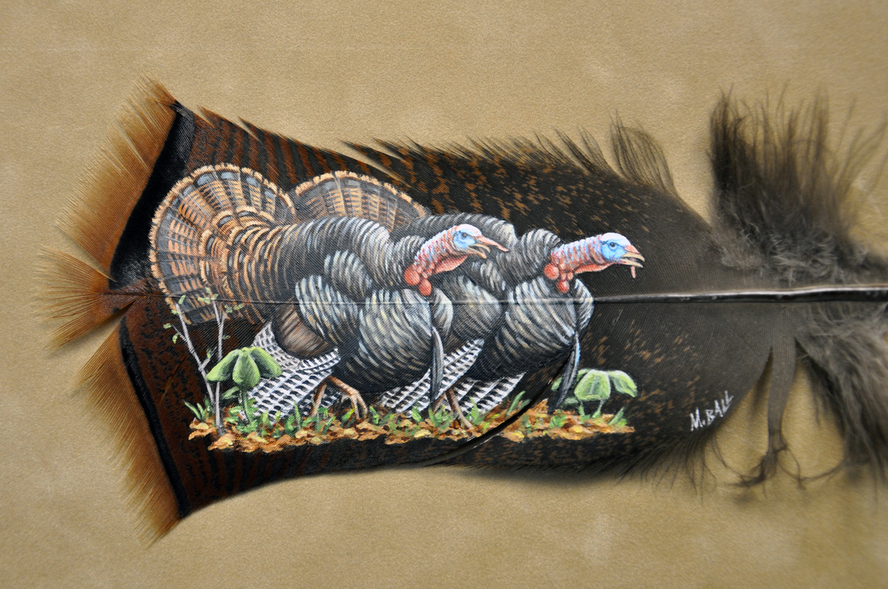 Hand Painted Turkey Feathers For Sale